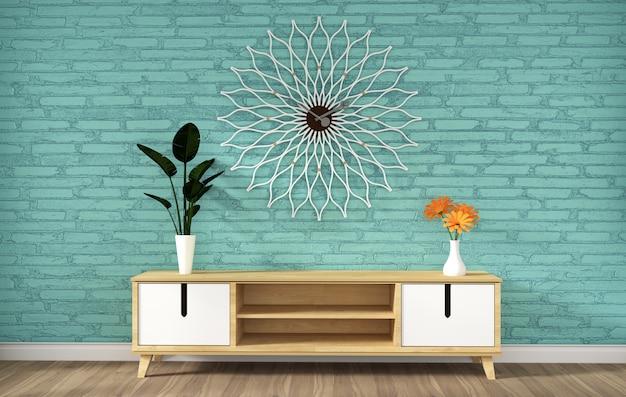 Het kabinet van tv in de moderne lege ruimte van de munthok, minimale ontwerpen, 3d renderin