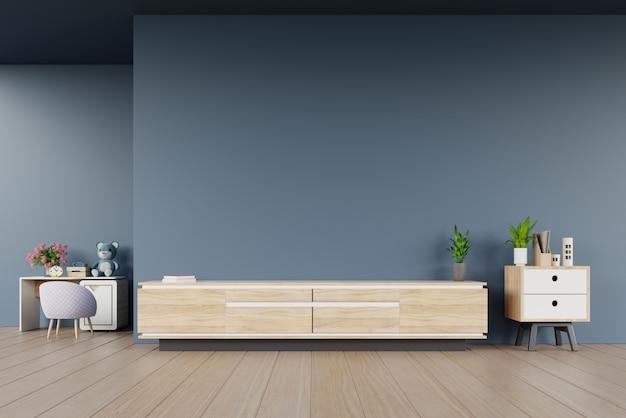 Het kabinet van tv in moderne lege ruimte en de ruimte van kinderen op donkere muur