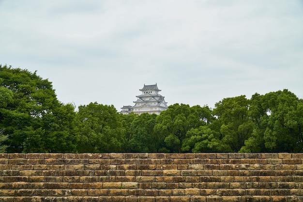 Het kasteel van himeji met boom en oude muur