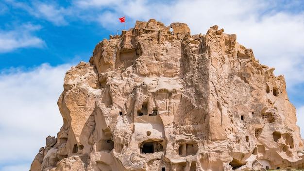 Het kasteel van uchisar. cappadocia, nevsehir province, turkije