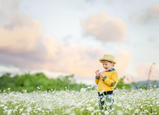 Het kind is gelukkig en lacht een keer in de weide met bloemen