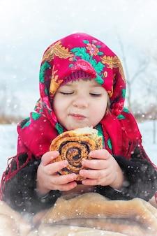 Het kind is winter. selectieve aandacht.