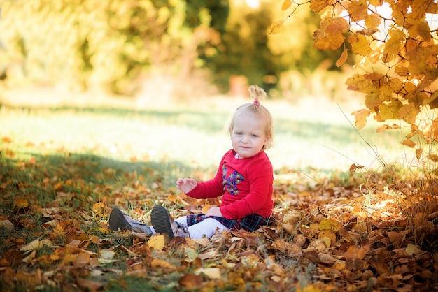 Het kind speelt in het herfstbos met appels en potloden. herfst thema