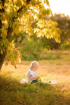 Het kind speelt in het herfstbos.