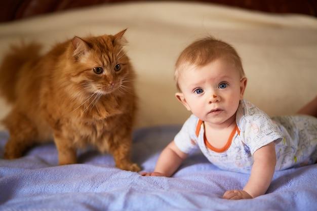 Het kleine kind en de kat liggen op het bed