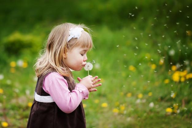 Het kleine meisje blaast een paardenbloem