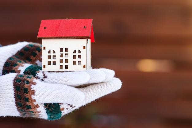Het kleine miniatuur van huis dient winterhandschoenen in