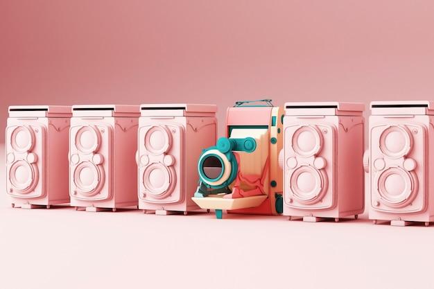 Het kleurrijke uitstekende camera omringen door roze uitstekende camera op een roze 3d achtergrond geeft terug