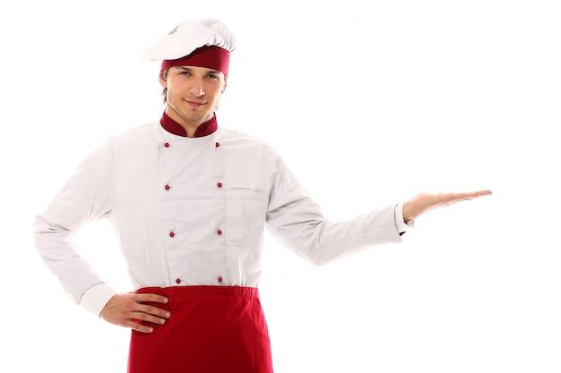 Het knappe portret van de jonge mensenchef-kok