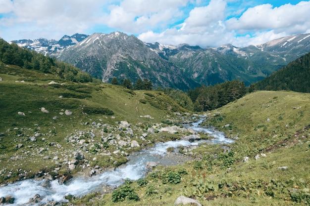 Het landschap van de hooglandrivier met sneeuwbergpieken en bewolkte hemel