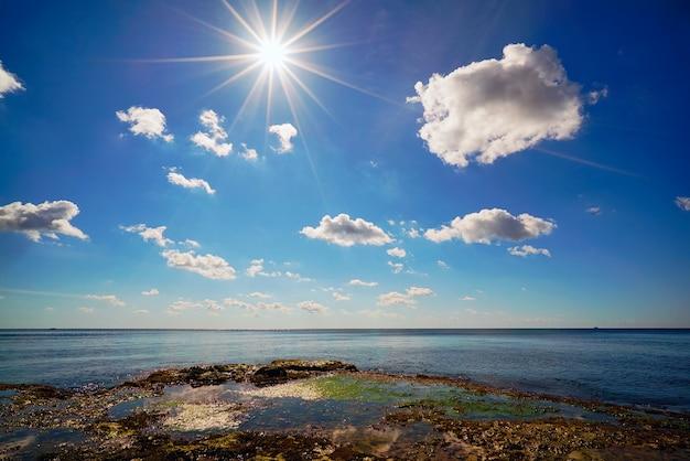 Het landschap van de zwarte zee op een heldere zonnige dag. tarkhankut, de krim,