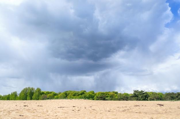Het landschap witn strand van de kust in simrishamn, zuid-zweden.