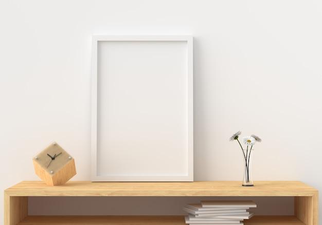 Het lege fotokader in moderne 3d woonkamer, geeft terug, 3d