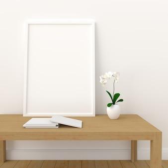 Het lege fotokader voor model in moderne 3d woonkamer, geeft, 3d illustratie terug