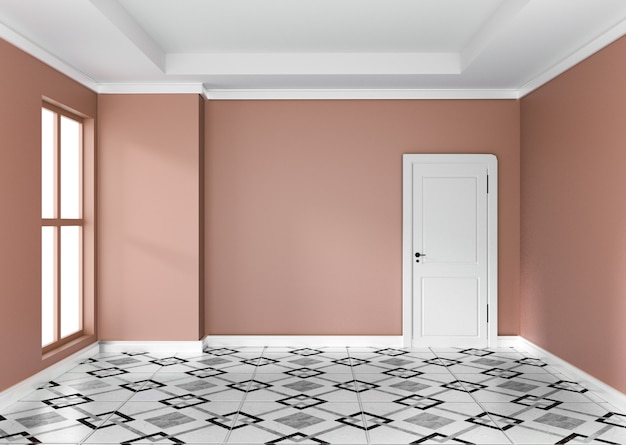 Het lege oranje ruimte binnenlandse ontwerp 3d teruggeven
