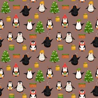 Het leuke digitale document van pinguïnen, het patroon van kerstmispinguïnen.