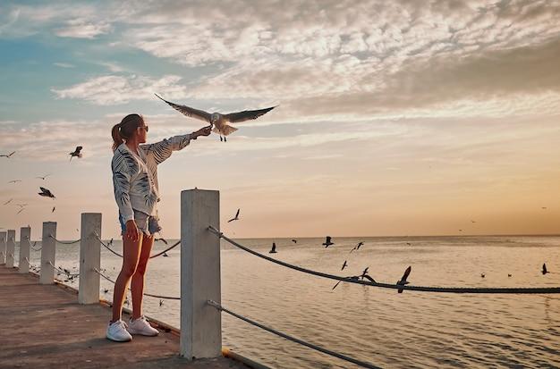 Het leuke meisje voedt zeemeeuwen vliegt om avondlicht tijdens het gouden uur te hebben.
