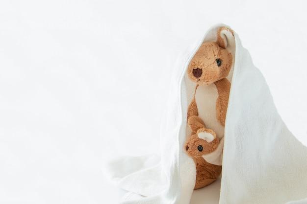 Het leuke paarmamma en de babykangoeroe spelen verstoppertje