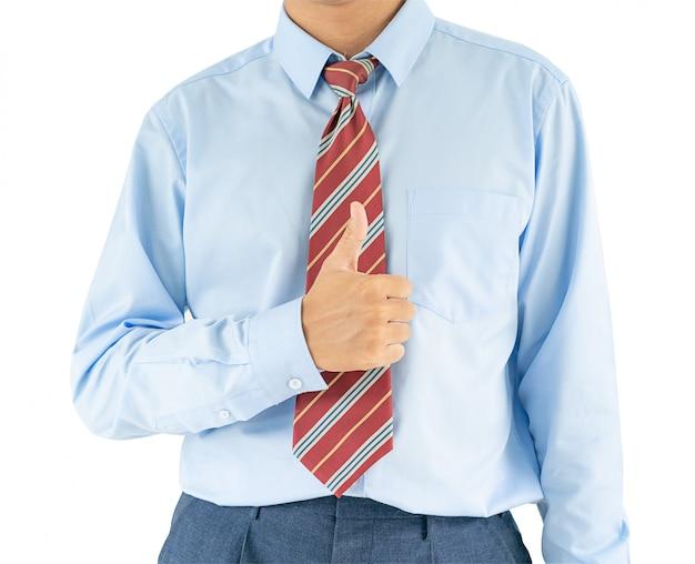 Het mannetje die blauw overhemd dragen bereiken deelt duimen omhoog met het knippen van weg uit