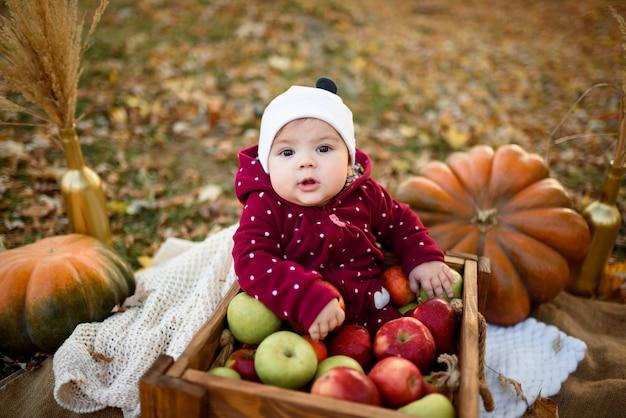 Het meisje kiest een appel voor de eerste voeding