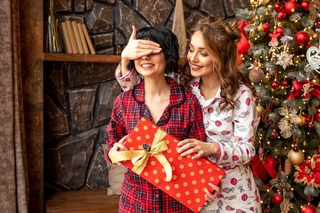 Het meisje sluit de ogen van haar vriend om haar te verrassen met een cadeau. vriendin met in haar handen grote rode aanwezig met gouden linten.