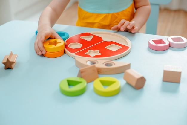 Het meisje verzamelt houten veelkleurige sorter veilig natuurlijk houten kinderspeelgoed