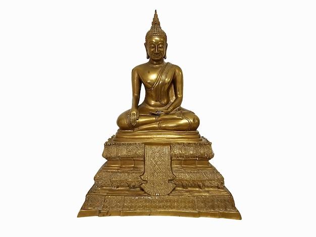 Het messing boeddhabeeld op een witte achtergrond