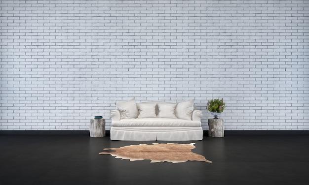 Het minimale interieur van de woonkamer en de achtergrond van de bakstenen muurtextuur