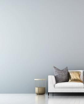 Het minimale interieurontwerp en meubels van woonkamer en muurtextuur