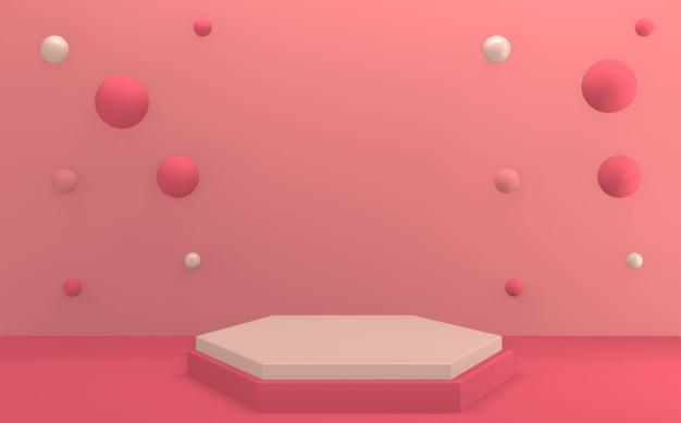Het minimale roze podium 3d-rendering van valentine