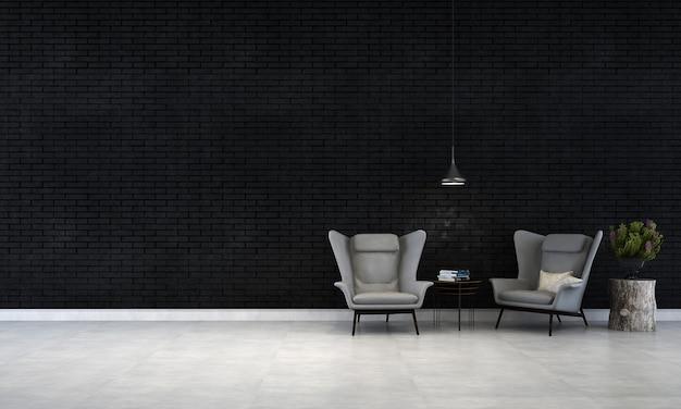 Het minimale zwarte interieur van de woonkamer en de achtergrond van de bakstenen muurtextuur
