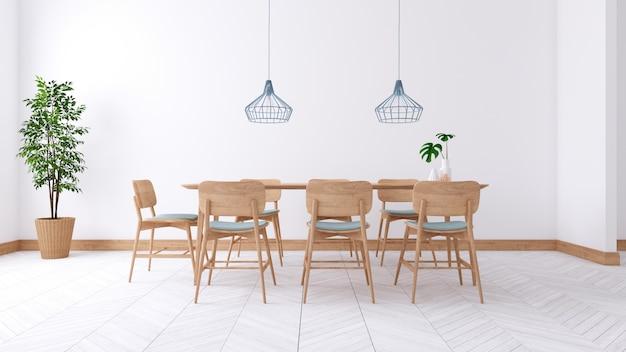 Het minimalistische binnenlandse ontwerp van de eetkamer, houten lijst en houten stoel op witte 3d ruimte, geeft terug