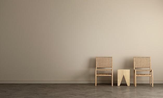 Het mock-up meubeldesign in een minimaal interieur en een lege muurachtergrond