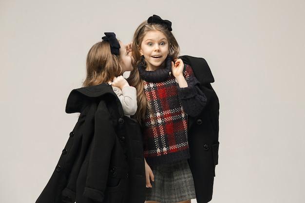 Het mode-portret van jonge mooie tienermeisjes in de studio