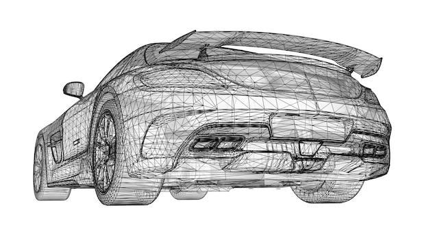 Het model heeft een premium coupé. rasterillustratie in de vorm van een zwart veelhoekig driehoekig raster op een witte achtergrond. 3d-rendering.