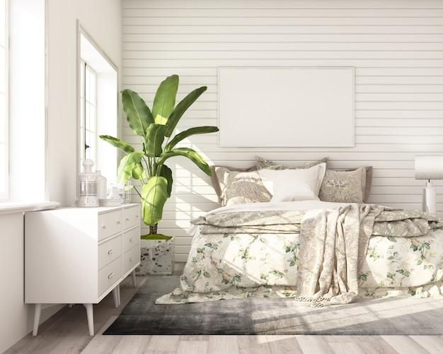 Het modelaffichekader in moderne klassieke stijl van de slaapkamer met witte houten 3d muur geeft terug