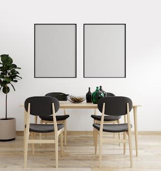Het modelaffichekader op moderne binnenlandse achtergrond, woonkamer, scandinavische 3d stijl, geeft, 3d illustratie terug