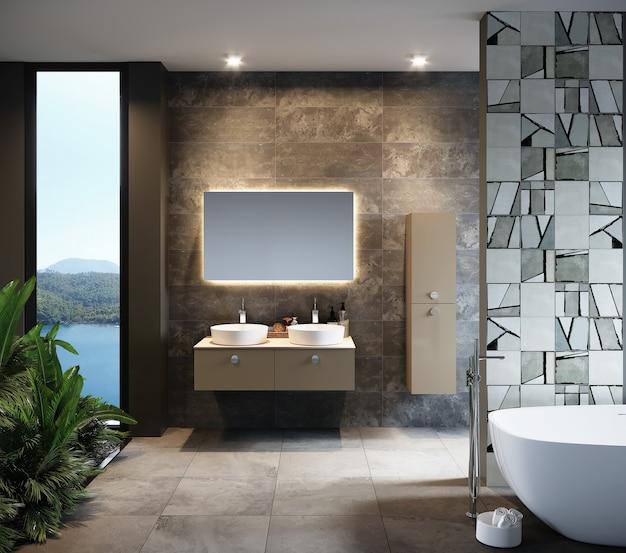 Het moderne badkamersbinnenland met 3d meubilair, geeft terug