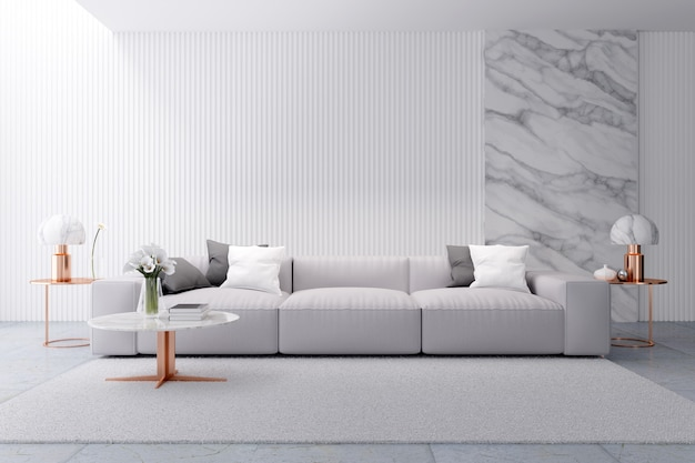Het moderne binnenlandse ontwerp van de luxe witte woonkamer