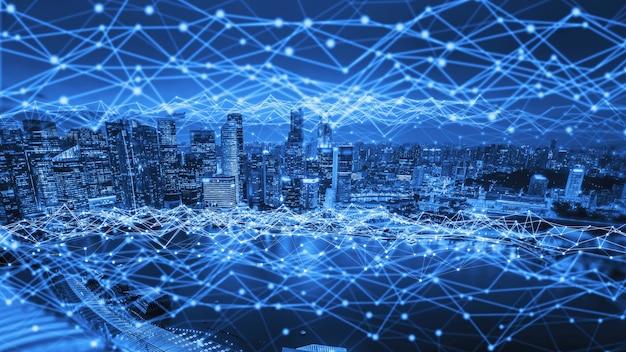Het moderne creatieve communicatie- en internetnetwerk maakt verbinding in slimme stad Premium Foto