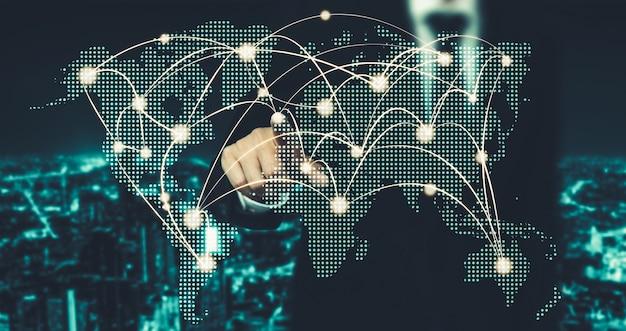 Het moderne creatieve communicatie- en internetnetwerk maakt verbinding in smart city