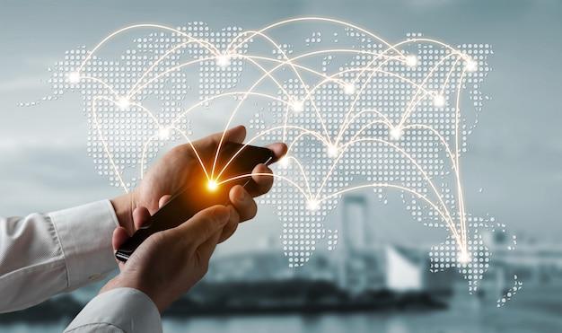 Het moderne creatieve communicatie- en internetnetwerk verbinden in smart city
