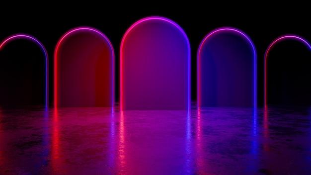 Het moderne futuristische cercle-neonlicht, met blackground, en de concrete vloer, 3d ultraviolet, geven terug
