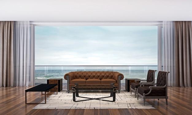Het moderne, gezellige interieur van de woonkamer en de achtergrond met uitzicht op zee