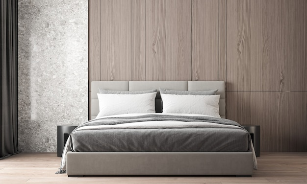 Het moderne, gezellige interieur van mooie slaapkamer en hout en marmeren muur textuur