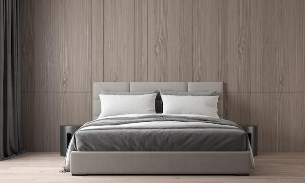 Het moderne, gezellige interieur van mooie slaapkamer en houten muur textuur