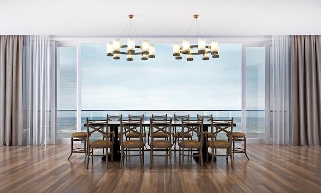 Het moderne interieur van de lounge en eetkamer en de houten vloer en de achtergrond met uitzicht op zee