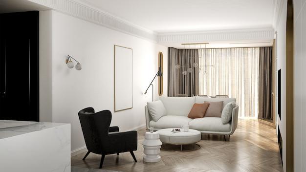 Het moderne minimale interieur van woonkamer en witte muur