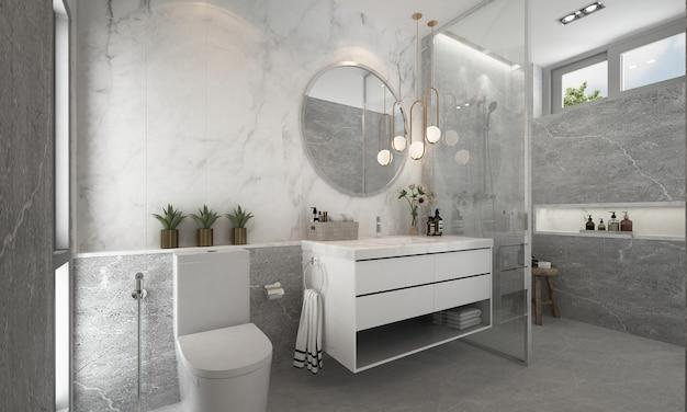 Het moderne modelontwerp van de badkamer met marmeren patroonmuur