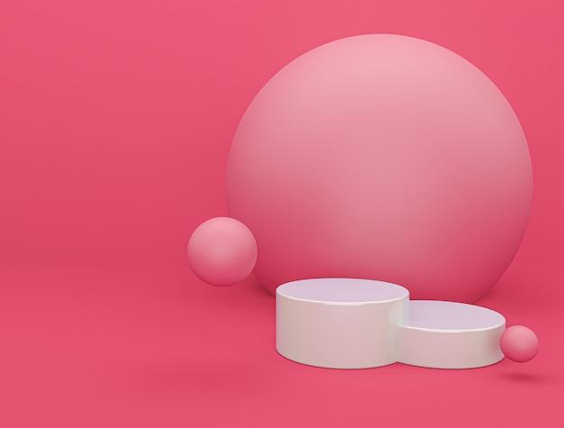 Het moderne roze podium met 3d achtergrond geeft terug